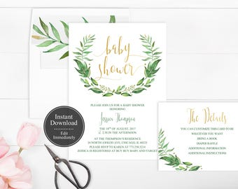 Printable Wreath Baby Shower Invitation Template | Greenery Baby Shower Invitation | INSTANT DOWNLOAD | Leaf Baby Shower Invite | Botanical