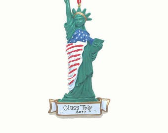 FREE SHIPPING Statue of Liberty Christms Ornament / New York Ornament / Big Apple / Manhattan Ornament / Custom Names or Message