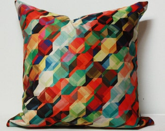 Colorful pillow cover, red pillow, green pillow, multi color pillow, geometric pillow, modern pillow, velvet pillow