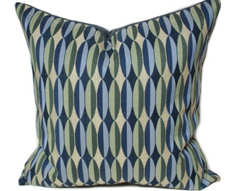 Blue green pillow, Maharam textiles, alter glen textiles, beige and blue pillow, designer pillows