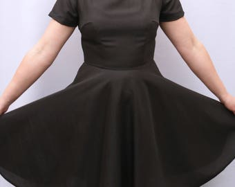 Brunette Beauty Amy Dress UK Size 12-14 - sparkle sparkley dark brown full skirt hand sewn sleeves handmade by The Emperor's Old Clothes