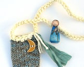 La Lune - Painted Peg Person - Knitted Necklace Bag - Play Set
