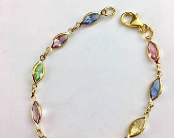 Swarovski Bracelet - Swarovski Jewelry - multi color bracelet - Gold Bracelet - Holiday Jewelry - Gift for her - Jewelry gift - Pastel Link