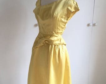 Vintage 1950's lemon yellow satin wiggle dress