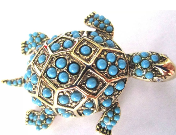 KJL KENNETH J LANE Turquoise Beaded Turtle Pin In Original Box!