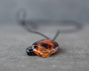 Leaf pendant, Nature jewelry, Colorful orange pendant, Fused glass jewelry, Adjustable necklace, Unique gift