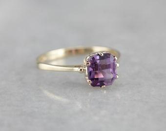 Amethyst Solitaire Ring, Cushion Cut Amethyst, February Birthstone PURK0QLE-N