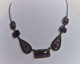Amethyst Gemstone Necklace   February Birthstone   Rhinestones with Dark Gray Chain   Purple Stone Jewelry   GreenTreeBoutique