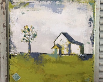Landscape painting of a barn