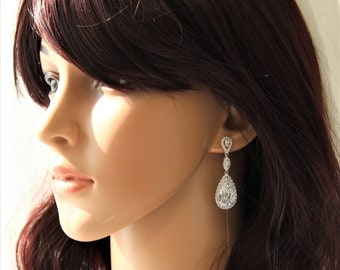 SALE  Art Deco Earrings,  Bridal Earrings ,Wedding Earrings, Bridal Jewelry Dangle Earrings Crystal Teardrop Earrings Wedding Jewellery UK