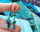 Optical Illusion Art Book Paper Bead Earrings Color Stacks