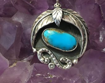 Vintage Navajo Turquoise Pendant Sterling Silver Native American Southwestern Necklace Pedant Signed
