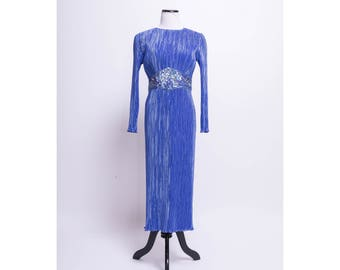 NEIMAN MARCUS Silk Dress W/ Sequined Art Deco Belt