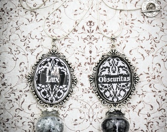 LUX & OBSCURITAS - pic your choice - gothic necklace - light and darkness - sparkling necklace - handmade cameo