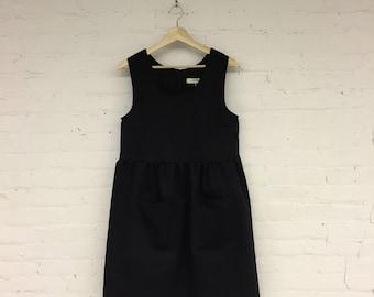 Prairie Dress - black cotton twill size XS