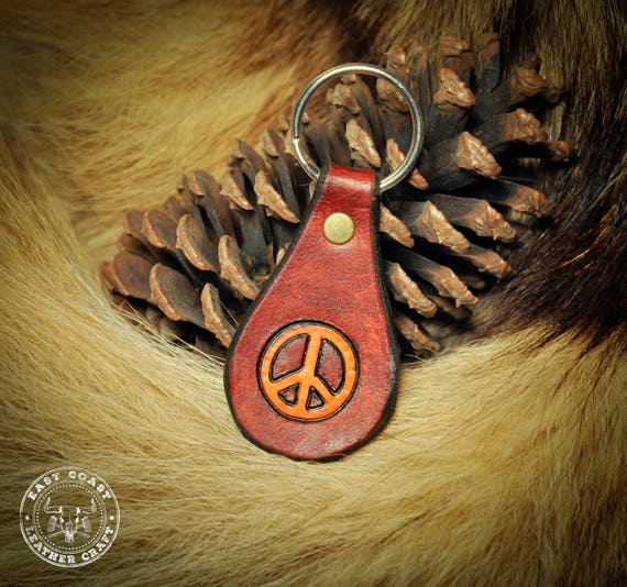 Leather Key Fob Keychain - Peace Sign