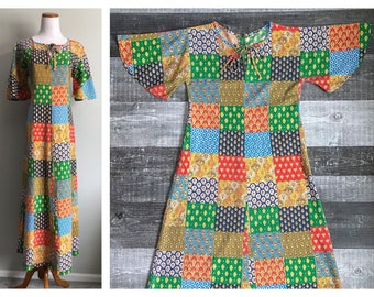 Vintage Caftan Dress 1960's 70's Hippy Retro Patchwork Maxi Dress Boho Flutter Sleeve Long Paisley Cotton Floral Summer Bohemian Size Medium