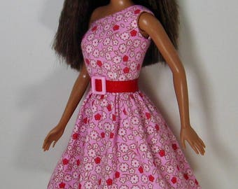 """Fashion Doll Clothes - Pink and Red Floral Print Dress for Modern (with bellybutton) 11 1/2"""" Fashion Dolls - 278"""