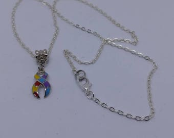 Autism Awareness Ribbon Necklace - support gift - rainbow puzzle.