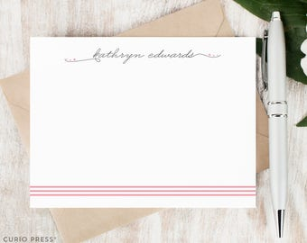 Personalized Notecard Set - TRIPLE STRIPE SCRIPT - Set of Flat Personalized Stationery / Stationary Note Card Set