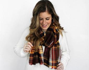 Blanket Scarves Flannel Plaid, Fringe Scarves