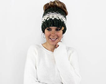 Messy Bun Beanie, Ponytail Headband, Knit Pony Tail Hat, Top Knot Beanie, Running Headband- Patuxent Ponytail Hat