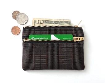 Slim Wallet Pouch Double Zipper Coin Purse Plaid