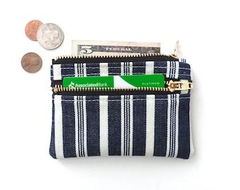 Slim Wallet Pouch Double Zipper Coin Purse Vintage Stripe
