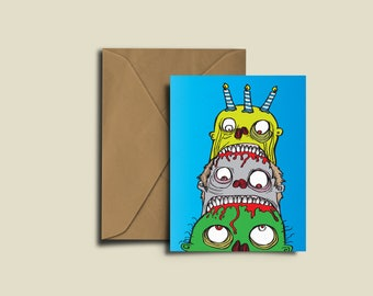 Zombie Birthday Cake Card Congratulations Valentines Exam A6 greeting Card.