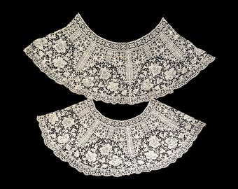 Antique lace collars ecru pair wide Art Deco flounce sheer TWO  10 inch wide and 15 inch long panels 36 inch sweep scalloped hem