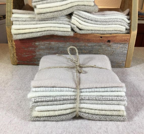 Off White wool bundle, Hand and mill-Dyed Wool for Rug Hooking, Applique, Penny Rugs, Quilting, eight 1/16 Yard Pieces Winter White II W329