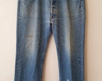 501 Levi Jeans American Denim USA Button Fly 38x34 Grunge Distressed Workers Pants