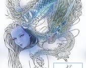 Digital Stamp Instant Download - Dragon Lore - Woman w/ Serpentine Dragon Tattoo - Fantasy Line Art for Cards & Crafts by Mitzi Sato-Wiuff