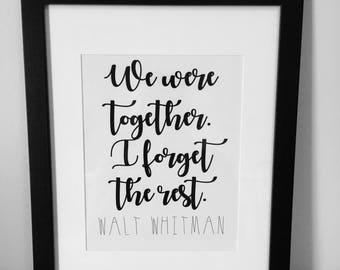 Walt Whitman Printable Wall Art, Home Decor, Instant Download, Wedding Sign, 8x10, 5x7, 4x6