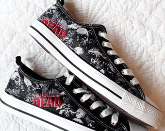 The Walking Dead Zombies Hand Decorated Converse Style Shoe