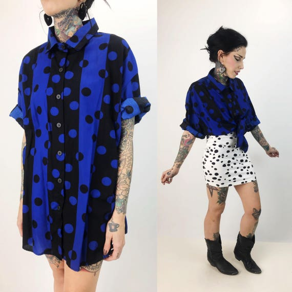 80's Blue & Black Polka Dot Color Block Button Up Medium - Abstract Casual Funky Polka Dot 3/4 Sleeve Button Front Long Lightweight Shirt