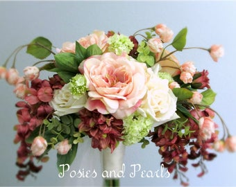 """Cascading Pink Silk Flower Bridal Bouquet and Groom's Boutonniere, Open Roses, Wisteria, Dahlias, Tulle Stem Wrap, """"Adored"""""""