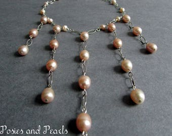 """Pink Pearl Fringe Necklace, Freshwater Pearls & Oxidized Sterling Silver, Wedding Jewelry, Bridal Necklace, """"Luminous"""""""