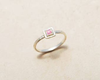 Promise Ring, Delicate Ring, Pink Opal ring, Square Opal ring, Dainty ring, Thin Silver ring, Hammered Silver ring, Textured ring, Pink ring