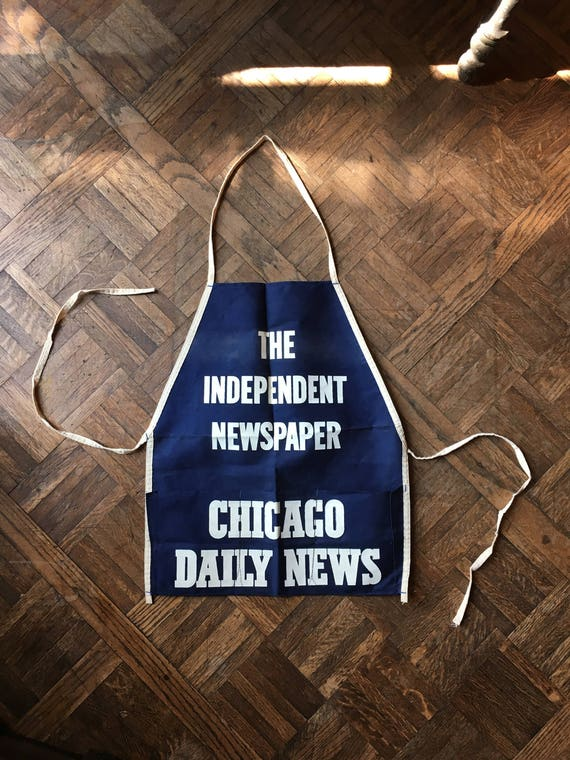Vintage Newspaper Advertising Apron, Chicago Daily News, The Independent Newspaper, Canvas Shop Apron