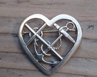 Vintage Georg Jensen sterling silver heart shaped brooch
