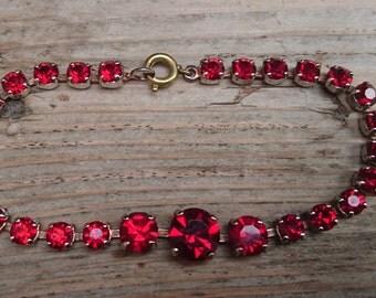 Vintage red rhinestone bracelet