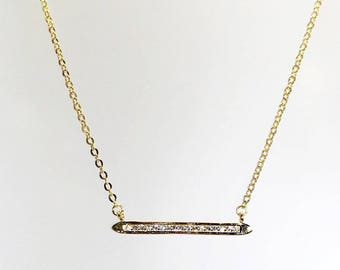 Horizontal Cz Bar Necklace