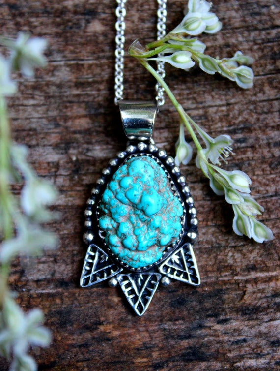 "Sale!! Rooted//Kingman Nugget Turquoise Necklace//Hand Stamped Details//18"" Chain"