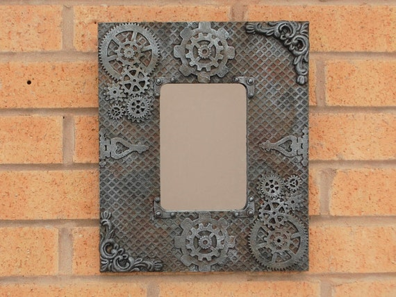 Steampunk Industrial Mirror Art Wall Hanging, Home Decor With Gears. Rusty Steel Effect