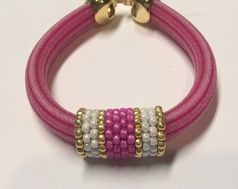 SALE: Licorce Leather Handmade Beaded Tube, Luster White, Light Pink and Gold, Licorice