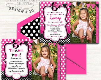 BLOWOUT SALE MINNIE Mouse Invitation, Minnie Mouse Birthday Invitation, Invite, Minnie Mouse, Pink Polka Dot,  1st Birthday, 2nd Birthday, P