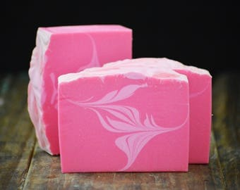 Cherry Blossom Soap | Artisan Cold Process Floral Scented Soap Bar, Vegan Handmade Soap Gift For Women, Hot Pink Swirled Homemade Soap