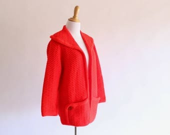 SALE Vintage Red Cardigan Knit Sweater Vintage 70's Cocoon Cardigan Slouchy Sweater w/ Pockets Size S-M