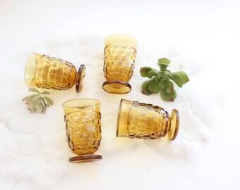 Set 4 Vintage Amber Small Glasses Whiskey Glasses Mid Century Barware Cocktail Glasses